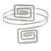 Silver Tone Square Motif Upper Arm, Armlet Bracelet - 27cm L