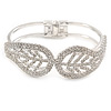 Silver Plated Clear Crystal Leaf Hinged Bangle Bracelet - up to 19cm L
