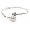 Rhodium Plated Clear Crystal Arrowhead and Pearl Thin Flex Bracelet - 17cm L/ Adjustabl