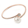 Rose Gold Tone Clear Crystal, Pearl Thin Flex Bracelet - 17cm L/ Adjustable