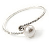 Rhodium Plated Clear Crystal, Pearl Thin Flex Bracelet - 17cm L/ Adjustable