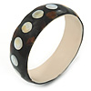 Dotted Shell Round Bangle Bracelet (Brown, White, Black) - 20cm L