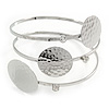 Triple Circle with Hammered Deatailing, Crystal Upper Arm/ Armlet Bracelet In Silver Tone - Adjustable
