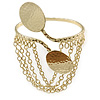 Gold Tone Double Oval Disk Hammered Upper Arm/ Armlet Bracelet with Chains - Adjustable