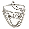 Silver Tone Swirls Hammered Upper Arm/ Armlet Bracelet with Chains - Adjustable