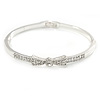 Rhodium Plated Clear Crystal Bow Bangle Bracelet - 18cm L