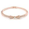 Rose Gold Metal Clear Crystal Bow Bangle Bracelet - 18cm L