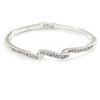 Delicate Clear Crystal Triple Leaf Bangle Bracelet In Rhodium Plating - 18cm L