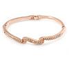 Delicate Clear Crystal Triple Leaf Bangle Bracelet In Rose Gold Tone Metal - 18cm L
