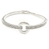Clear Crystal Open Eternity Circle of Love Bangle Bracelet In Rhodium Plated Metal - 19cm L