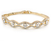 Gold Plated Clear Crystal 'Eye' Bangle Bracelet - 18cm L