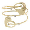 Gold Plated Hammered, Crystal Double Heart Armlet Bangle - 28cm L