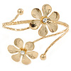 Gold Tone Double Flower Upper Arm, Armlet Bracelet - Adjustable