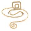 Polished Gold Tone Square and Circle Geometric Upper Arm, Armlet Bracelet - 27cm L - Adjustable