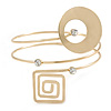 Open Circle And Square Upper Arm/ Armlet Bracelet In Gold Tone - 27cm L