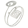 Open Circle And Square Upper Arm/ Armlet Bracelet In Silver Tone - 27cm L