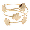 Hammered Gold Tone Multi Flower Upper Arm, Armlet Bracelet - 27cm L