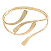 Polished Modern Leaves Upper Arm/ Armlet Bracelet In Gold Tone - Adjustable