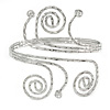 Silver Tone Hammered Circles And Swirls, Crystal Upper Arm/ Armlet Bracelet - Adjustable