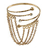 Antique Gold Tone Hammered Upper Arm/ Armlet Bracelet with Chains - Adjustable
