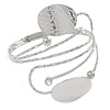 Silver Plated Hammered Oval Leaf Upper Arm, Armlet Bracelet - Adjustable