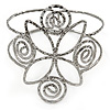 Egyptian Style Twirl Upper Arm, Armlet Bracelet In Hammered Antique Silver Plating - Adjustable