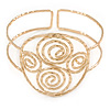 Greek Style Twirl Upper Arm, Armlet Bracelet In Hammered Gold Plating - Adjustable