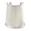 Egyptian Style Scratched Effect Wide Cuff Bangle Bracelet In Light Silver Tone Metal - Adjustable
