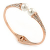 Delicate Crystal Simulated Glass Pearl Bead Hinged Bangle Bracelet In Rose Gold Tone - 18cm L