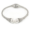 Delicate Crystal Simulated Glass Pearl Bead Hinged Bangle Bracelet In Rhodium Plating - 18cm L
