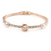 Elegant Crystal, Faux Pearl Slim Bangle Bracelet In Rose Gold Tone Metal - 18mm L