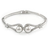 Elegant Double Loop Glass Pearl, Clear Crystal Bangle Bracelet In Rhodium Plated Metal - 17cm L (For Smaller Hands)