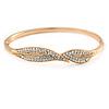 Exquisite Crystal Leaf Bangle Bracelet In Gold Tone Metal - 18cm L