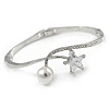 Elegant Clear Crystal, Cz Star, Glass Pearl Bangle Bracelet In Rhodium Plating - 18cm L