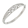 Rhodium Plated Round, Marquise Cut Clear CZ Bangle Bracelet - 18cm L