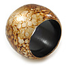 Chunky Brown/ White Marble Effect Shell Bangle Bracelet - 18cm L/ Medium