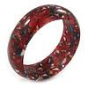 Red Resin with Mosaic Effect Bangle Bracelet - Medium - 17cm L
