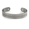 Men Women Celtic Pattern Copper Magnetic Cuff Bracelet with Two Magnets in Pewter Finish - Adjustable Size - 7½