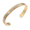 """Men Women Tri Tone Copper Magnetic Cuff Bracelet with Two Magnets - Adjustable Size - 7½"""" (19cm )"""