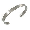 """Men Women Copper Magnetic Cuff Bracelet In Pewter Finish with Two Magnets - Adjustable Size - 7½"""" (19cm )"""