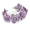 Lavender Purple Shell Floral Cuff Bracelet - Adjustable