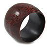 Wide Chunky Cracked Effect Wood Bracelet Bangle (Red/ Black) - Medium - 20cm L