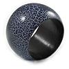 Wide Chunky Cracked Effect Wood Bracelet Bangle (Purple/ Black) - Medium - 19cm L