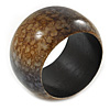 Chunky Wide Brown/ Black Marble Effect Wood Bangle Bracelet - 20cm L/ Large