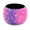 Chunky Wide Bright Pink/ Purple Marble Effect Wood Bangle Bracelet - 18cm L/ Medium