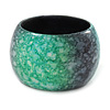 Chunky Wide Green/ Black Marble Effect Wood Bangle Bracelet - 18cm L/ Medium