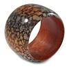 Chunky Wide Black/ Orange Marble Effect Wood Bangle Bracelet - 19cm L