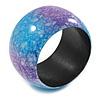 Chunky Wide Light Blue/ Purple Marble Effect Wood Bangle Bracelet - 19cm L