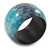 Chunky Wide Teal Green/ Black Marble Effect Wood Bangle Bracelet - 17cm L/ Medium
