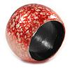 Chunky Red/ White Marble Effect Shell Bangle Bracelet - 17cm L/ Medium